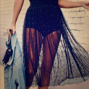 Zara tulle with pearls skirt